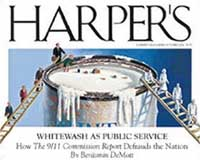The cover of Harper's Magazine, October 2004, depicting the whitewashing of the 9/11 Commission.
