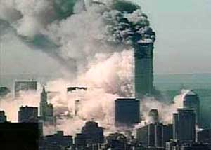 Smoke from the WTC tower collapses covers lower Manhattan on the day of 9/11, and for days afterward.