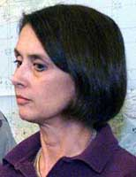 Barbara Bodine at a press conference days after the bombing of the USS Cole.