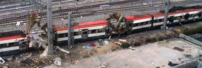 Multiple bombs destroyed this train in Madrid, Spain.