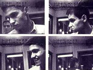Hijacker Abdulaziz Alomari using an ATM in Portland, Maine, on September 10, at 8:41 p.m. Mohamed Atta can be seen further back in the first and last image.