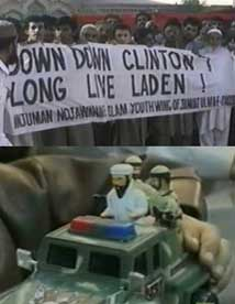 "Top: a protest sign in a late 1998 Pakistan protest reads: ""Down Down Clinton! Long Live Laden!"" Bottom: a children's toy featuring bin Laden from the late 1990s."