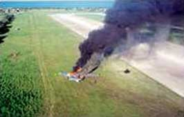 The crash of Arne Kruithof's plane at Venice Municipal Airport.