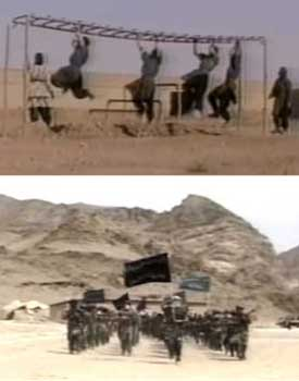 Scenes in the al-Qaeda recruitment video show operatives training at the al-Farouq camp in Afghanistan.