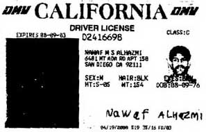 A poor photocopy of Nawaf Alhazmi's US driver's license.