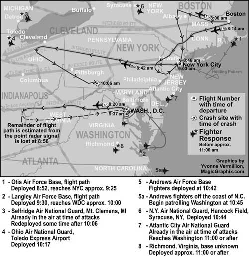 A map of the paths all hijacked planes and relevant fighters take on the morning of 9/11.