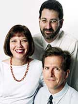 The three authors of the book Germs, Judith Miller (left), Stephen Engelberg (top), and William Broad (bottom). This was the book Miller was working on before 9/11; it was published several weeks after 9/11.