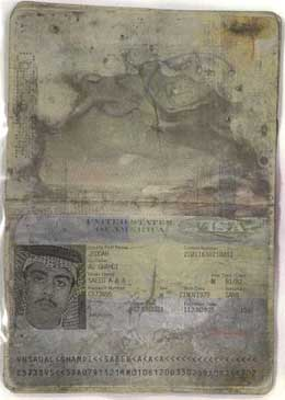 The Saudi passport of Saeed Alghamdi, said to be discovered in the wreckage of Flight 93.