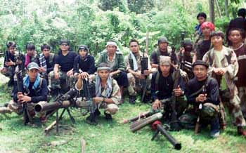 A group of Abu Sayyaf militants photographed on July 16, 2000.
