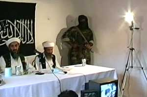 Osama bin Laden (right), Mohammed Atef (center), and an unidentified militant at the press conference publicizing the expanded fatwa in May 1998. Ayman al-Zawahiri is out of the picture, sitting on the other side of bin Laden.