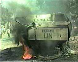 A UN vehicle burning in Mogadishu, Somalia, on October 3, 1993.