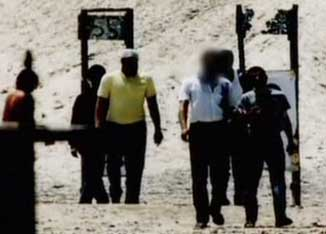 One of the Calverton surveillance photographs introduced as evidence in court (note that some faces have been blurred out).