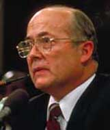 Vice Admiral John Poindexter testifying before Congress in the Iran Contra hearings in 1987.