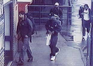 The four London bombers captured on closed circuit television. From left to right, Hasib Hussain, Germaine Lindsay, Mohammad Sidique Khan, and Shehzad Tanweer, pictured in Luton train station at 07:21 a.m., Thursday, July 7, 2005.