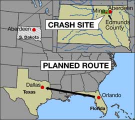 A map showing the planned flight path of Payne Stewart&#8217;s plane and the crash site location.
