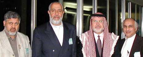 "Four members of the American delegation to the ""First Conference on Jerusalem"" (from right to left): Ahmed Yusef, Abdurrahman Alamoudi, Yaser Bushnaq, and Imad-ad-Dean Ahmad."