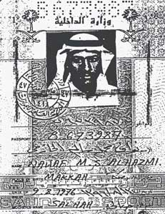 A photocopy of Nawaf Alhazmi's passport. No image of Khalid Almihdhar's passport has been released, but it would have looked similar to this one.