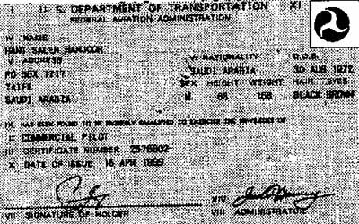 A photocopy of Hani Hanjour's 1999 pilot license.