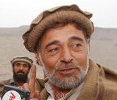 Haji Zaman Ghamsharik  speaking to reporters on December 16, 2001.