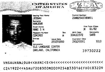 Hani Hanjour&#8217;s US visa issued September 25, 2000.