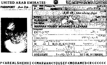 A poor photocopy of Marwan Alshehhi's United Arab Emirates passport.