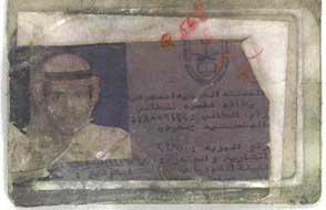 Majed Moqed's identification card found in the rubble.