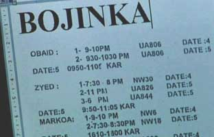 One of the Bojinka documents found. This Word document apparently lists flight times.