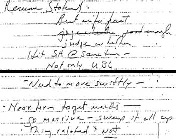 Two sections from Rumsfeld's notes, dictated to Stephen Cambone.