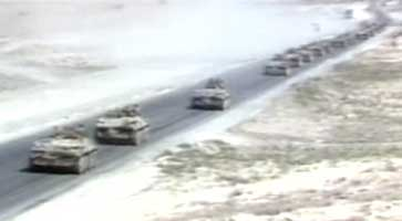 A convoy of Soviet tanks leaving Afghanistan.
