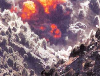 A US airstrike in the Tora Bora region.