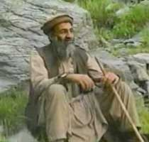 A video still of bin Laden filmed during his interview with Hamid Mir in November 2001.