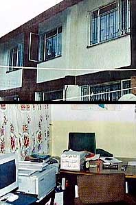 The outside and inside of El-Hage's house in Nairobi. These pictures were apparently taken during the 1997 raid and were used as evidence in El-Hage's trial.