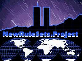The logo of the New Rule Sets Project, showing the WTC Twin Towers.