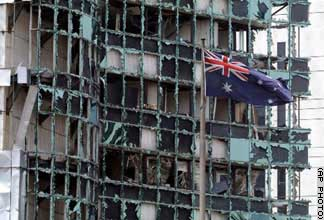 Damage to the Australian embassy.