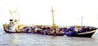 The Sky 1, the ship purchased by Sadek Walid Awaad and other al-Qaeda operatives, shown as it sank in 2000.