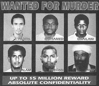 KSM&#8217;s name is not included in this US wanted poster of embassy bombing suspects. The names included are: Mustafa Mohammed Fadhil, Khalfan Khamis Mohamed, Ahmed Khalfan Ghailani, Fahid Mohammed Ally Msalam, and Sheikh Ahmed Salim Swedan.