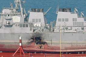 Damage to the USS Cole, shown in dry dock.