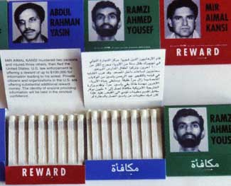 Matchboxes with the photographs and reward information of suspects like Ramzi Yousef.