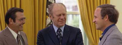 Donald Rumsfeld and Dick Cheney, along with then-President Gerald Ford, April 28, 1975.