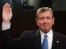 Attorney General John Ashcroft before the 9/11 Commission.