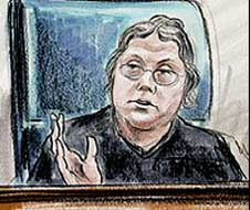 A courtroom sketch of Leonie Brinkema.