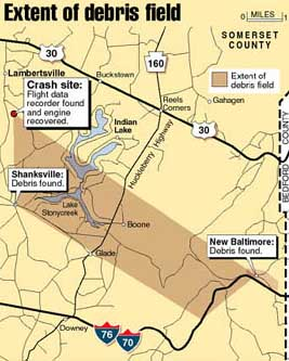 A map of the Flight 93 debris field.