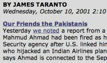The on-line Wall Street Journal article discussing the connections between Lt. Gen. Mahmood Ahmed, Saeed Sheikh, and Mohamed Atta.