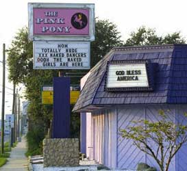 The Pink Pony strip club.