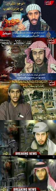 Stills from martyr videos recorded in March 2001. From top to bottom: Ahmed Alhaznawi, Abdulaziz Alomari, Saeed Alghamdi, Wail Alshehri, and Hamza Alghamdi. The backgrounds were digitally inserted later.