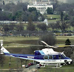 A helicopter belonging to the US Park Police Aviation Unit.