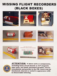 "A poster to help law enforcement officers locate the missing ""black boxes"" in the WTC debris."
