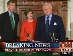 Laura Bush with Senators Edward Kennedy and Judd Gregg.