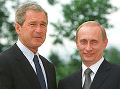 George W. Bush and Vladimir Putin at the Slovenia summit.
