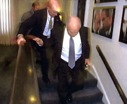 Dick Cheney heading to the the Presidential Emergency Operations Center.
